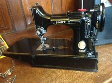 VINTAGE 1952 SINGER FEATHERWEIGHT 221 SEWING MACHINE W/ CASE OIL & ATTACHMENTS