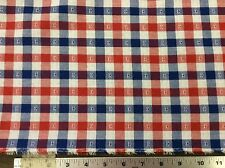 RED, WHITE & BLUE PLAID COTTON FABRIC WITH STARS    BY THE YARD