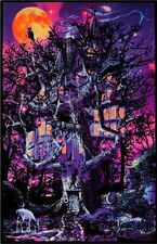 HAUNTED TREEHOUSE - BLACKLIGHT POSTER - 24X36 SPOOKY SCARY MOON 6038