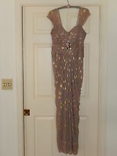 Authentic Adrianna Papell  Embellished, Pleated Bodice Gown , Taupe  Sz 10