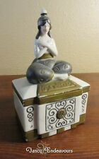 Art Deco Egyptian Revival Schafer and Vater Nude Figural Woman Trinket Box