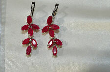 NATURAL GENUINE PINK RED RUBY STERLING 925 SILVER EARRING DANDLE DROP CHANDELIER