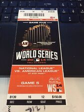 2014 SAN FRANCISCO GIANTS VS KANSAS CITY ROYALS WORLD SERIES GAME #5 TICKET STUB