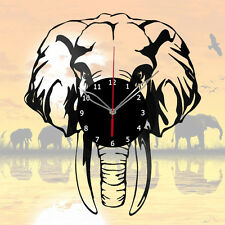 Africa, Elephant Vinyl Record Wall Clock, Animals 12'' (30cm)