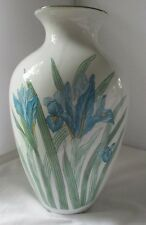 LARGE VINTAGE ROSENTHAL-NETTER WHITE PORCELAIN VASE WITH BLUE FLOWERS LILIES