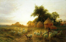 """Hand painted Oil painting shepherdess with sheep in the morning landscape 36"""""""