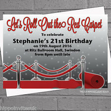 Personnalisé roll out tapis rouge fête d'anniversaire invitations x 50 + env H0507