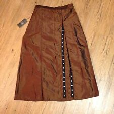 Covelo Skirt Silk Brown Long Size 6 Long Snaps Fab! Retail $145 New NWT
