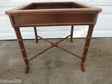 TAN Faux Bamboo Table Side End Coffee Hollywood Regency Coastal Cottage Nautical