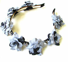 Grey Black Rose Silver Spike Stud Flower Headband Sugar Skull Pastel Goth 1219