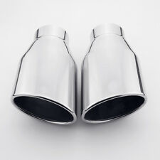 "Pair 2.25"" inlet 7"" length 304 Stainless Steel Oval Slanted Rolled Exhaust Tips"