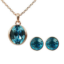 Fashion Jewelry - 18k Rose Gold Plated Blue Crystal Set (FS167)