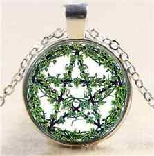Plant Rattan Pentagram Cabochon Glass Tibet Silver Chain Pendant Necklace