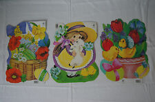 NOS Lot of 3 Eureka die cut Easter basket eggs chicks lamb double sided New