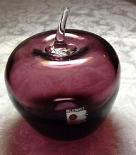 Blenko Glass Amethyst Apple Paperweight/Vintage 1980/sticker