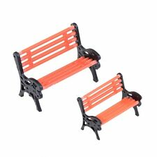 2 PCs Miniature Garden Chair Outdoor Decor Park Bench DIY Dollhouse Furniture