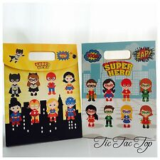 6 X SUPERHERO PAPER LOOT LOLLY GIFT BAG. PARTY SUPPLIES BATMAN AVENGERS GOODY