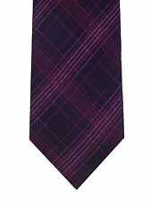 New Calvin Klein men's purple pink Flannel Plaid skinny slim silk necktie tie
