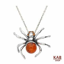 "COGNAC BALTIC AMBER STERLING SILVER 925 PENDANT SPIDER + 18""chain. KAB-296"