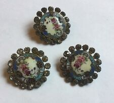 Antique Vintage Enamel Paste Buttons X 3 Floral