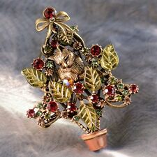 NEW SWEET ROMANCE KITTEN AMONG THE BRANCHES CHRISTMAS TREE PIN  ~~CUTE CAT~~