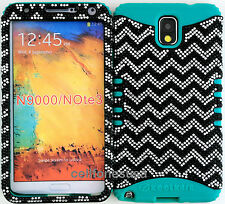 Hybrid Cover Case Samsung Galaxy Note 3 III N9000 Blk &Sil Chevron Bling /Teal