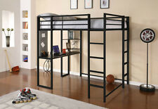 Student Loft Bed Frame with Desk Small Bookshelf Full Size Metal Ladders Rails