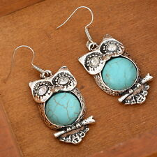 1Pair Charming Crystal Turquoise Owl Drop Dangle Earrings Hook Retro Elegant