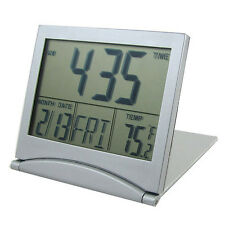 Silver FoldableBattery Supply Desktop Calendar Temperature Digital Alarm Clock