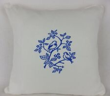 "Large 18"" Shabby Chic Blue Embroidered Bird Scatter Pillow Cushion Cover"