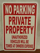 """LOT OF 3 No Parking Private Property Unauthorized Towed 7""""x10"""" Polystyrene Sign"""