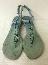 Oscar de la Renta Arden women flat sandals turquoise blue leather suede size 9M
