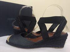 Bernardo Nora Black Metallic Linen Women's Wedge Heels Sandals Size 9 M