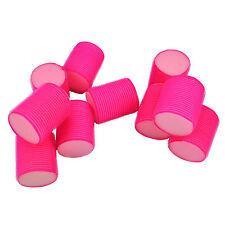 10 Large Pink Soft Velcro Hair Rollers Perfect For Sleeping In Curling Accessory