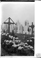 Tombe Cimetière enterrement - négatif photo verre negative glass 1937