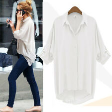 Fashion Women Casual V-Neck Long Sleeve Chiffon T Shirt Summer Loose Top Blouse