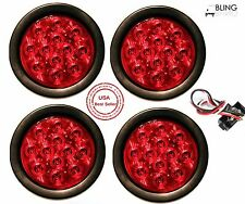 "Best Seller (4) Red 4"" Round STOP TURN TAIL LED Light GROMMET PLUG Truck Trailer"