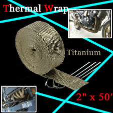 "2"" x 50FT Manifold Header Exhaust Thermal Heat Tape Wrap Ties Titanium For GMC"