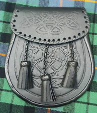 Men's Scottish Kilt Sporran Semi Dress Black Leather Celtic Embossing Design