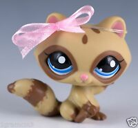 Littlest Pet Shop Raccoon #1682 Tan and Brown With Blue Eyes