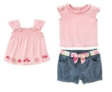Gymboree Fairy Garden 3 pc Set 4T New Pink Swing Top + Tee Blue Chambray Shorts