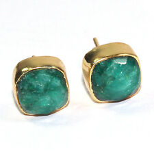 GORGEOUS EMERALD GOLD PLATED 92.5% SOLID STERLING SILVER EARRING