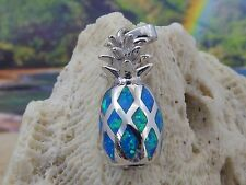 HIGH POLISHED STERLING SILVER BLUE FIRE OPAL PINEAPPLE PENDANT