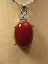 red jade oval shape pendant (without chain)