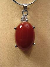 Colgante de jade rojo forma ovalada (sin cadena)