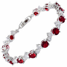 Sarotta Round Cut 18K White Gold Plated CZ Topaz Red Ruby Tennis Bracelet