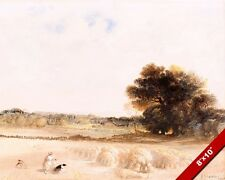 GLEANERS GLEANING IN THE WHEAT FIELDS WATERCOLOR PAINTING ART REAL CANVAS PRINT