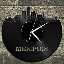 Memphis Skyline Vinyl Wall Clock, Cityscape Clock, Unique Large Wall Clock