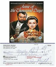 GENEVIEVE BUJOLD     HAND SIGNED BANK CHEQUE / CHECK   DEC 1994   VERY RARE ITEM