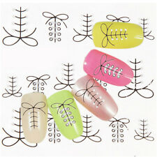 Black & Silver Shoe Laces Pattern Water Transfers Decals Nail Art Stickers EF